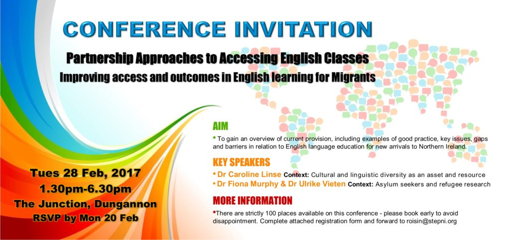 Partnership Approaches to Accessing English Classes - Conference 28th Feb @ The Junction | Northern Ireland | United Kingdom