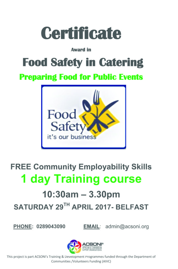 CERTIFICATE IN FOOD SAFETY IN CATERING (LEVEL 2 AWARD) ** CIEH ACCREDITED  at ACSONI @ ACSONI, Belfast