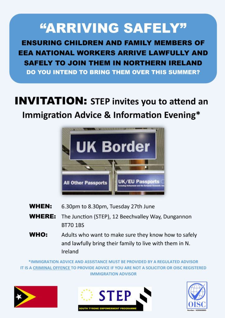 STEP Immigration Event @ The Junction | Northern Ireland | United Kingdom