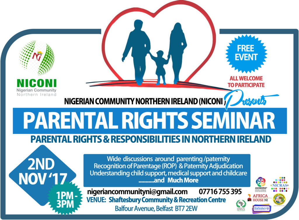 Nigerian Community Seminar: Parental Rights and Responsibilities @ Shaftesbury Community & Recreation Centre | Northern Ireland | United Kingdom