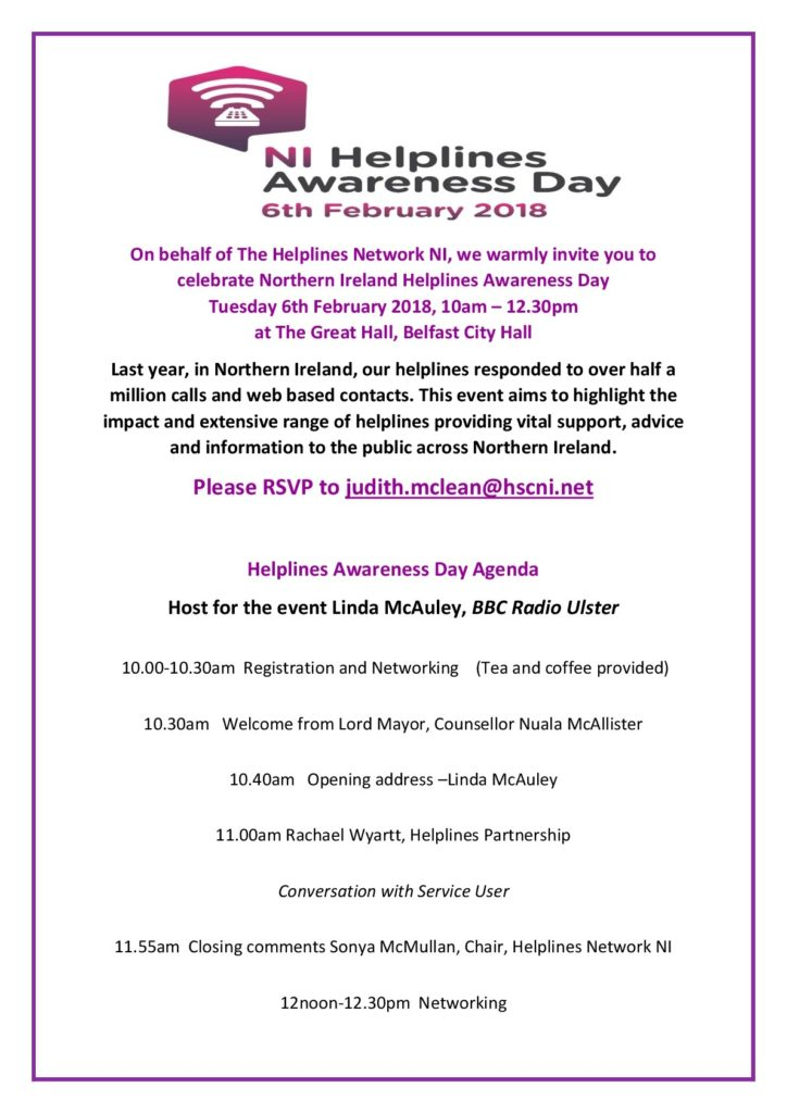 NI Helplines Awareness Day @ The Great Hall | Belfast | Maine | United States