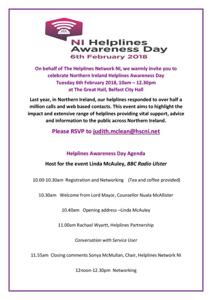 NI Helplines Awareness Day @ The Great Hall | Belfast | Maine | United States