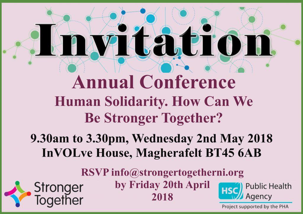 New date! Stronger Together Annual Conference - Wed 2nd May @ InVolve House MAgherafelt TBC | Northern Ireland | United Kingdom