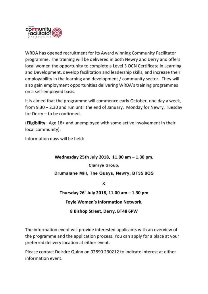 WRDA Community Facilitator Programme Info Session - Derry @ Foyle Women Information Network | Northern Ireland | United Kingdom