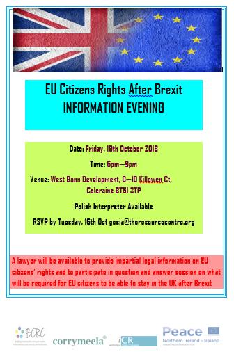 BCRC Rights After Brexit Information Evening - Coleraine @ West Bann Development, 8-10 Killowen Ct | Coleraine | Northern Ireland | United Kingdom