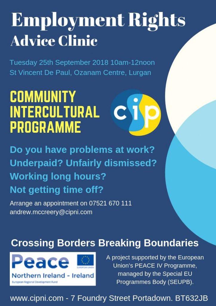 CIP Employment Rights Clinic - Lurgan @ SVP Ozanam Centre | Lurgan | Northern Ireland | United Kingdom