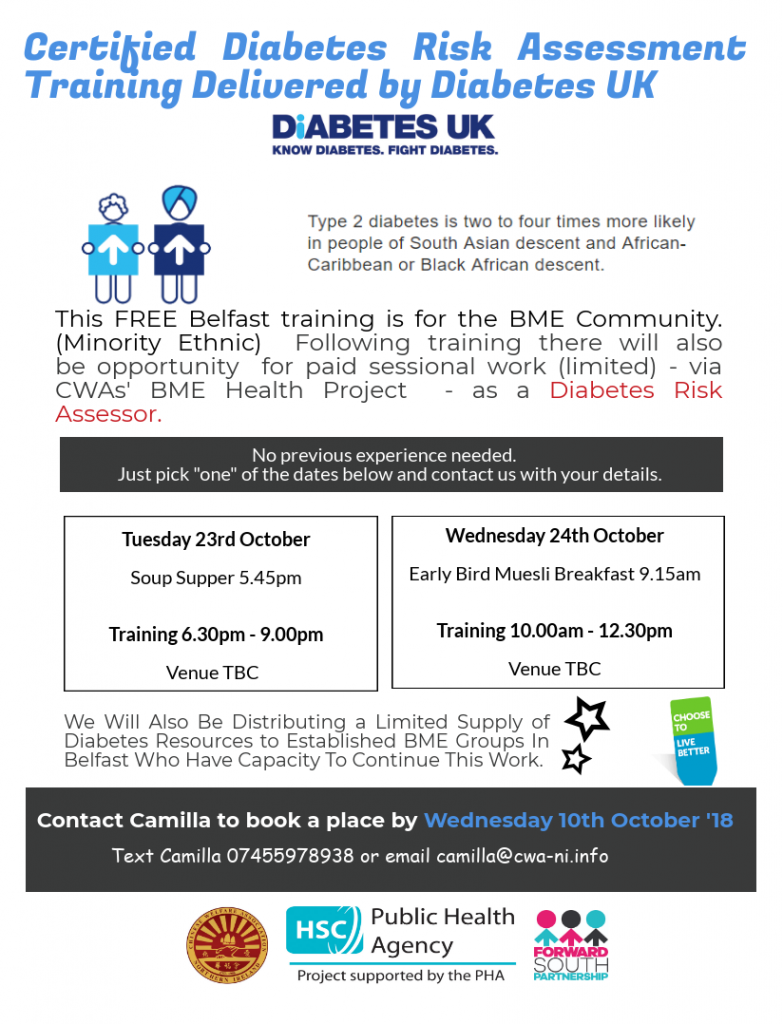 Diabetes Risk Assessment Training for BME communities - Belfast @ To be confirmed
