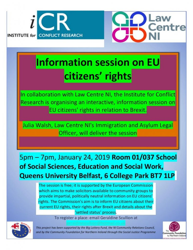 EU Citizens' Rights Information Session - changed venue @ School of Social Sciences