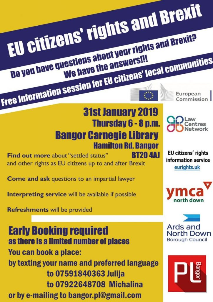 EU Citizens and Brexit Info Session - Bangor @ Bangor Carnegie Library
