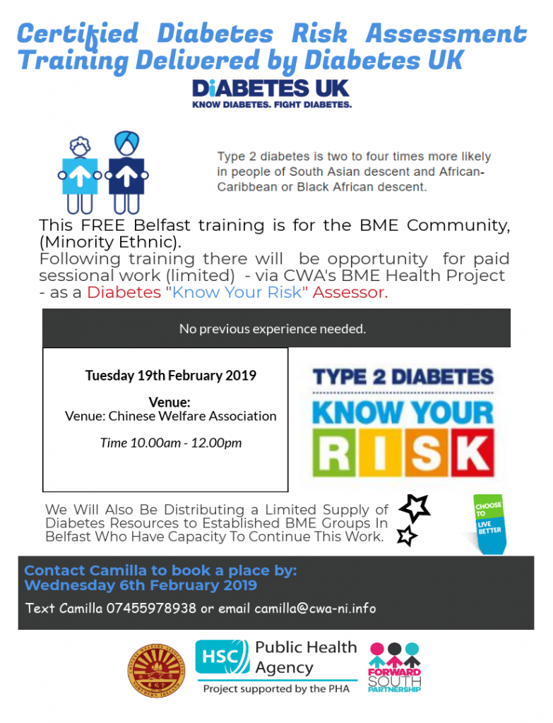 CWA BME Diabetes Awareness Training - Belfast @ Chinese Welfare Association
