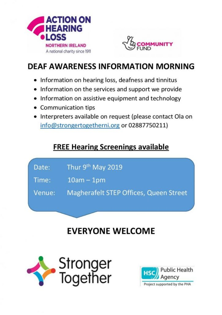 Stronger Together Deaf Awareness Week Info Session - Magherafelt @ STEP