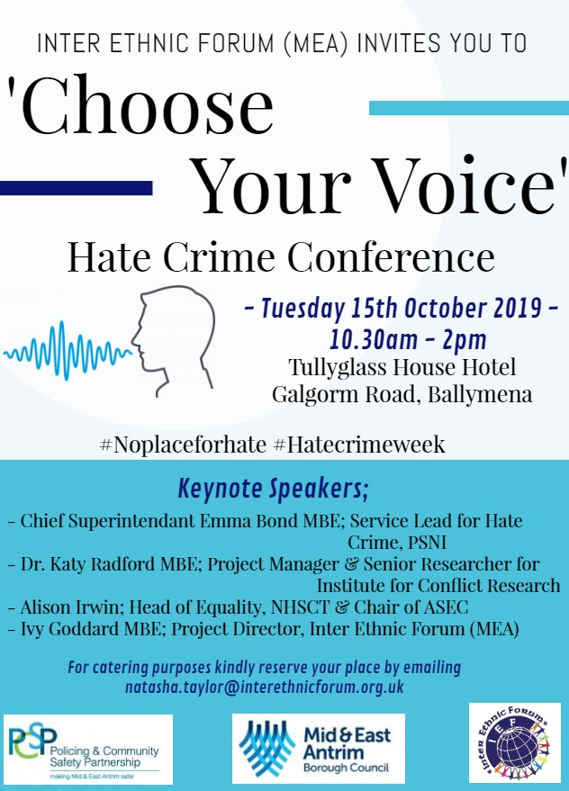 'Choose your Voice' Hate Crime Conference Invitation @ Tullyglass Hotel,