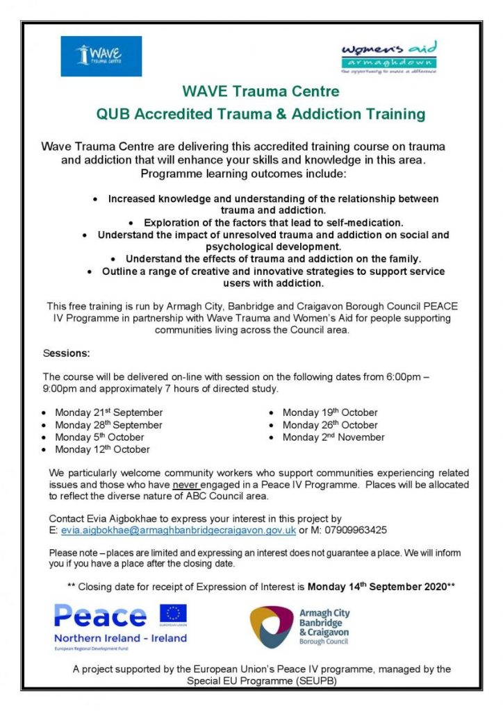 Accredited Trauma & Addiction Centre (ABC Council Area) @ ONLINE