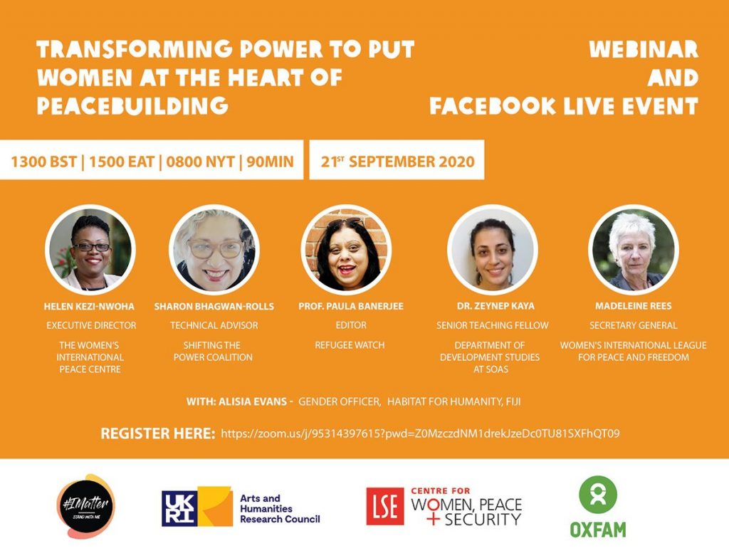 Webinar event  Transforming Power to put Women at the Heart of Peacebuilding' @ zoom