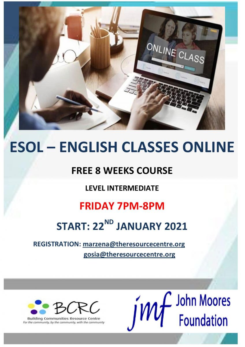 Building Communities Resource Centre - ESOL English Classes Online - starts 22nd January 2021 @ Online