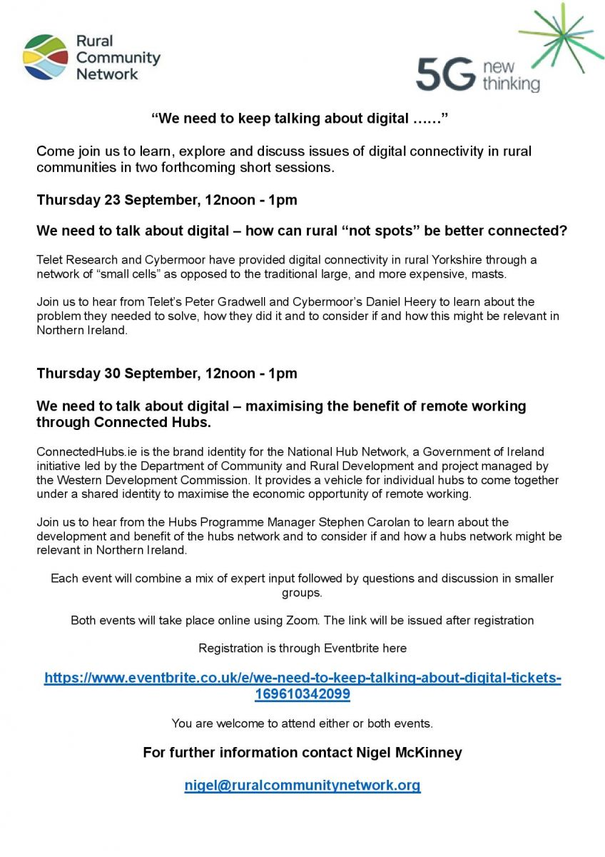 Rural Community Network - We need to keep talking about digital @ Online Zoom conference